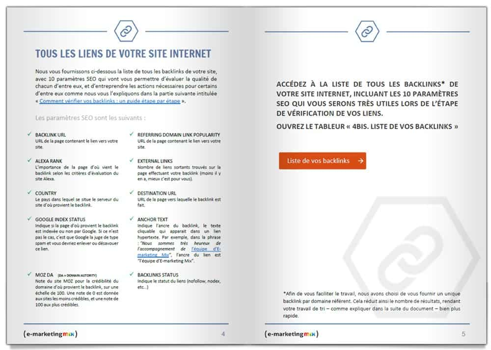 Pages Explication Analyse de Backinks du Bulletin de Santé SEO